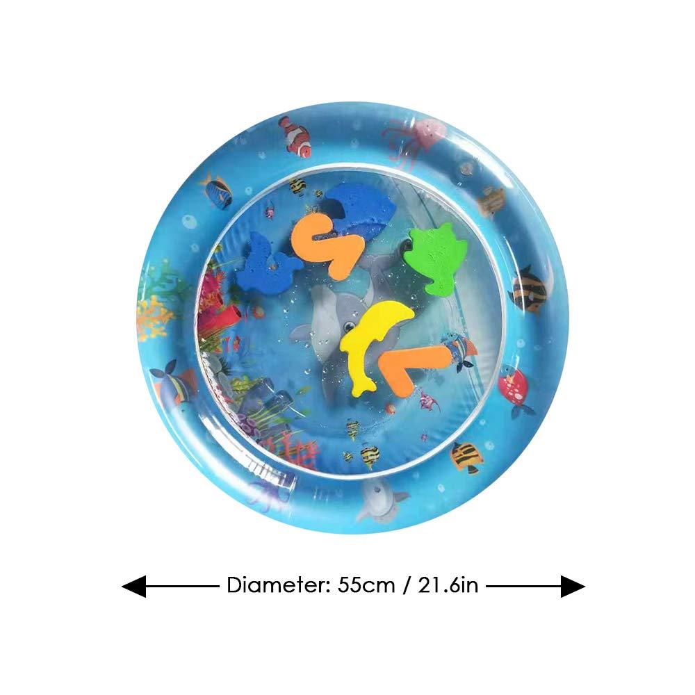 Decdeal Tapis de Jeu Gonflable en Forme d/étoile pour b/éb/é Pompe pour gonfleur /à la Main Ventre de d/éveloppement pour b/éb/é Mat Amusant Centre de Jeu pour Enfant