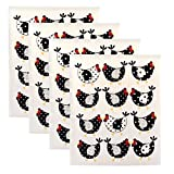 DII Swedish Dishcloths, 100% Natural Cellulose 7.75 x 6.75 Set of 4, Reusable, Dishwasher and Microwave Safe, Environmentally Friendly Dish Cloths - Chickens