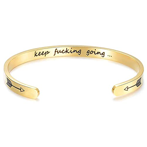 df5e912465a FHMZ Mantra Quote Keep Going Inspirational Bracelet Cuff Bangle Stainless  Steel Engraved Motivational Friend Encouragement Jewelry