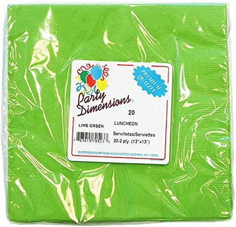 Party Dimensions 70523 Green20 Lime Green Napkins 6.5 x 6.5 x 1 King Zak Industries Inc.