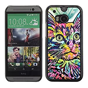 Vortex Accessory Carcasa Protectora Para HTC ONE ( M8 ) - Abstract Colorful House Cat Butterfly -