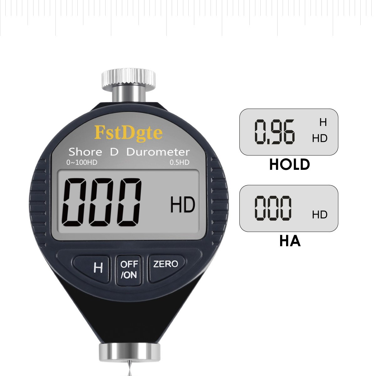 Digital Shore Durometer Hardness Tester D,Range 0-100HD,Resolution 0.5HD,for Hard Rubber,Such As Thermoplastic Plastics,Bowling,Plastic Floor Etc,with Data Hold//Zero Button,LCD Display,Lifetime Warranty