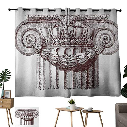 """WinfreyDecor Ancient Thermal Curtains Classical Antique Column Roman Empire Architecture Heritage Culture Print Darkening and Thermal Insulating 55"""" Wx63 L Burgundy and White"""