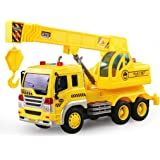 Childrens Toys Music Light Sanitation truck,Mamum Car Crane Truck Vehicle Toys Friction Powered Builder Machine With Light&Music