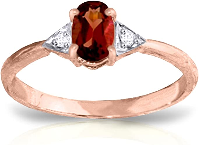 ALARRI 14K Solid Rose Gold Ring w// Natural Diamond /& Garnet