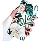ooooops iPhone XR Case for Girls, Green Leaves with White & Brown Flowers Pattern Design, Slim Fit Clear Bumper Soft TPU Full-Body Protective Cover Case for iPhone XR 6.1'' (Leaves & Flowers)