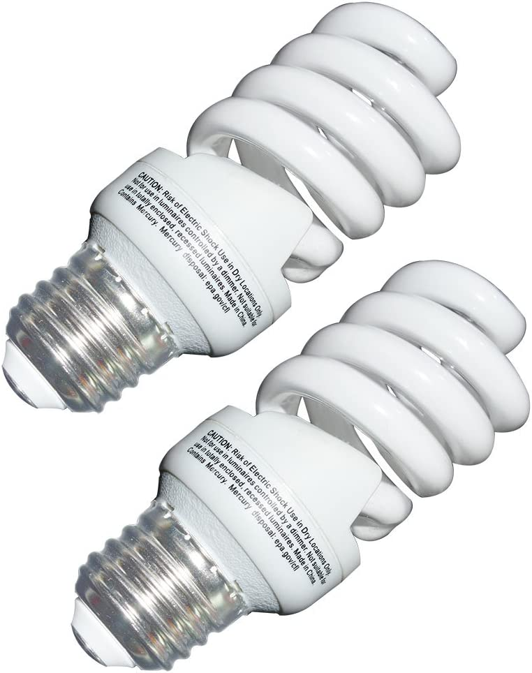 13 Watt CFL Light Bulbs (60 Watt) Soft White 2700K 1040LM Spiral Bulb Medium Base Compact Fluorescent Bulb (2 Pack)