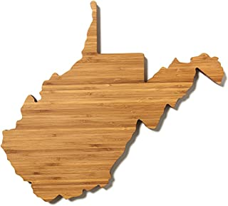 """product image for AHeirloom: The Original State Shaped Serving & Cutting Board. (As Seen in O Magazine, Good Morning America, Real Simple, Brides, Knot.) Made in the USA from Organic Bamboo, Large 15"""" (West Virgina)"""