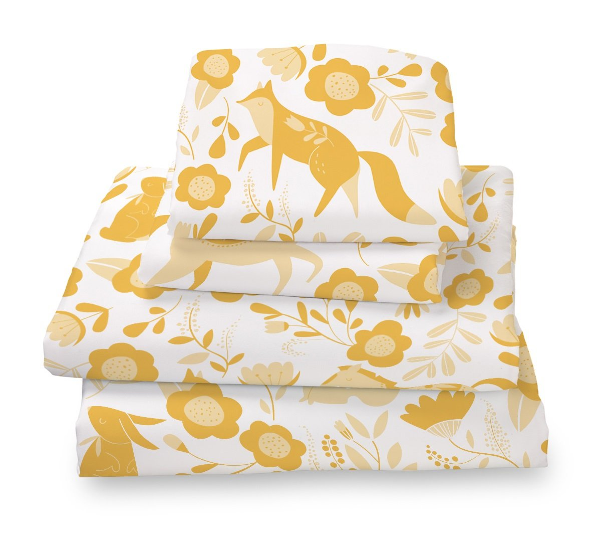 Where the Polka Dots Roam Marigold Yellow Folktale Forest Animals Full Size Sheet Set, Soft Sheets for Deep Mattresses, 4 Pieces Full Size Set in White and Gold