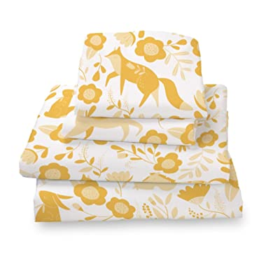 Where The Polka Dots Roam Marigold Yellow Folktale Forest Animals Queen Size Sheet Set, Soft Sheets for Deep Matresses, 4 Piece Full Size Set in White and Gold