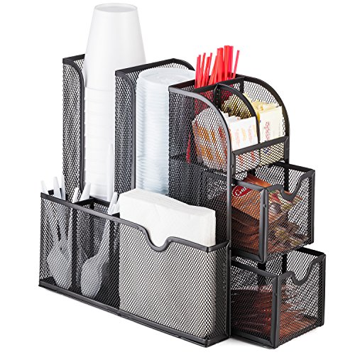 Halter Mesh Coffee Accessories Caddy Organizer - 9 Compartments and 2 Drawers - 11.25