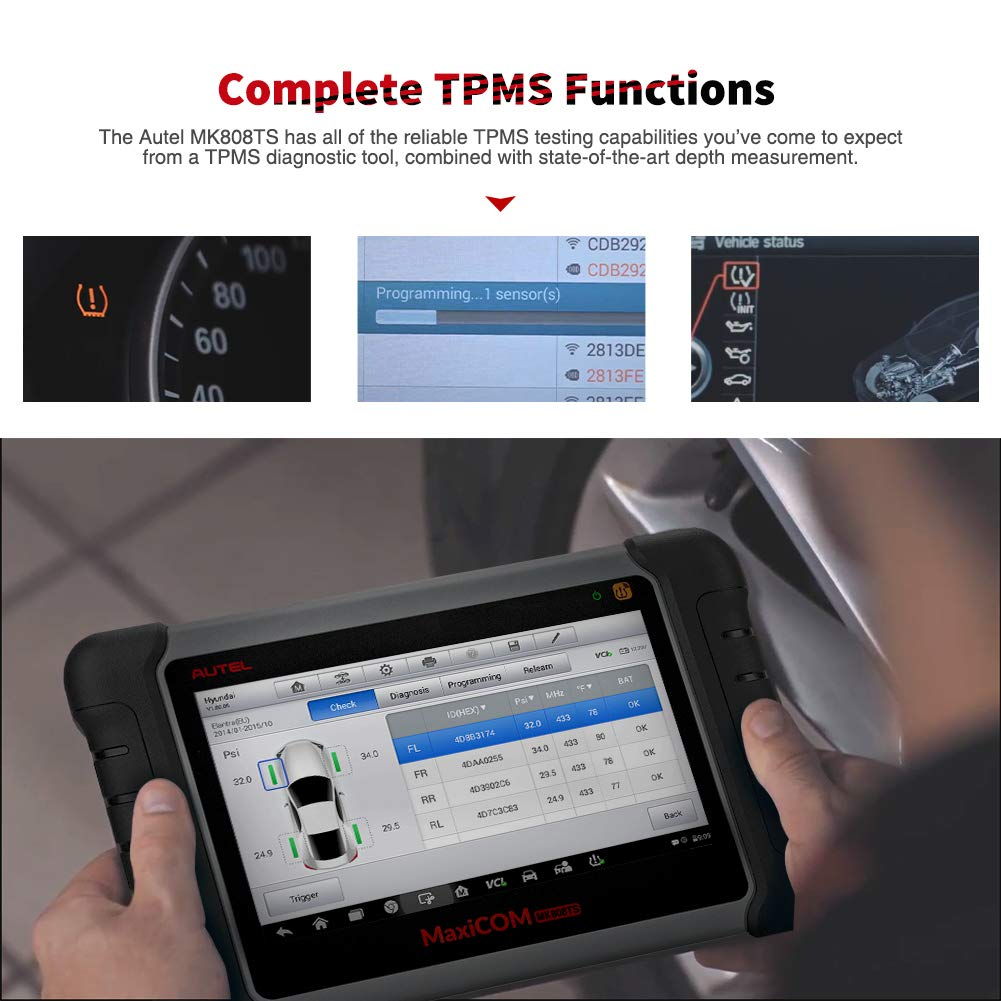Autel MaxiCOM MK808TS Enhanced Diagnostic Scan Tool of MK808BT and MK808 with Complete TPMS Functions, Full Systems Diagnoses and Reset Services including EPB, BMS, SAS, DPF, Oil Reset IMMO Service et by Autel (Image #3)