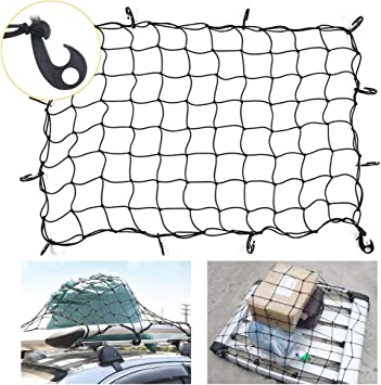 47 x 36 Cargo Net Small 3 x 3 Grid Mesh Cargo Net Holds Loads Tighter Auto Roof Tie-Down Net with 14 Hooks