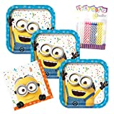 Despicable Me Minion Theme Plates and Napkins Serves 16 With Birthday Candles