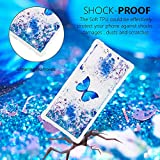 Cfrau Liquid TPU Case with Black Stylus for Samsung Galaxy Note 10/Note 10 5G,Luxury Love Hearts Stars Series Cute Pattern Bling Glitter Sparkle Floating Shockproof Quicksand Case,Blue Butterfly