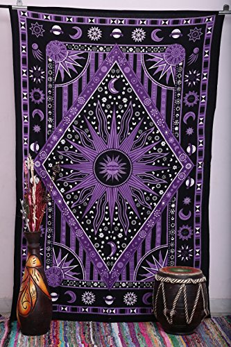 Purple Burning Sun Tapestry, Celestial Sun Moon Planet Tapestries, Hippie Hippy Wall Hanging, sun moon tapestry, twin Psychedelic tapestry, Burning Sun Tapestries