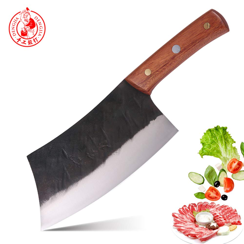 DENGJIA 5Cr15Mov Chinese Multi-Functional Knife Meat Cleaver Knife and Vegetables Knife Beef Knife With Cuibourtia SPP Wood Handle by DENGJIA