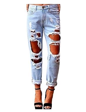 d1da331e7fa0 Legou Femme Jeans Taille haute Pantalons Jean déchirés à là mode Bleu clair  X-Small