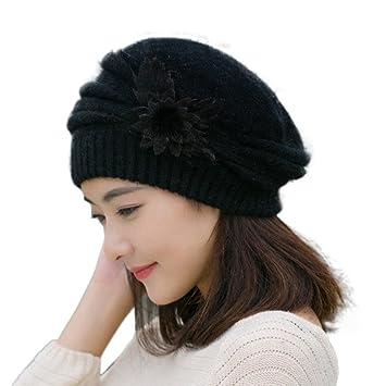 Funie Women Girls Flower Knit Crochet Beanie Hat Winter Warm Cap Beret  (Black) 0a81a6703802