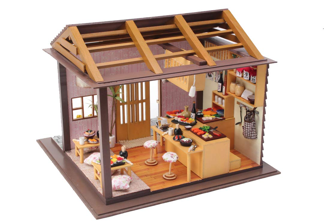 Cool Beans Boutique Miniature DIY Dollhouse Kit Wooden Japanese Sushi Shop with Musical Mechanism and Dust Cover - Architecture Model kit (English Manual)