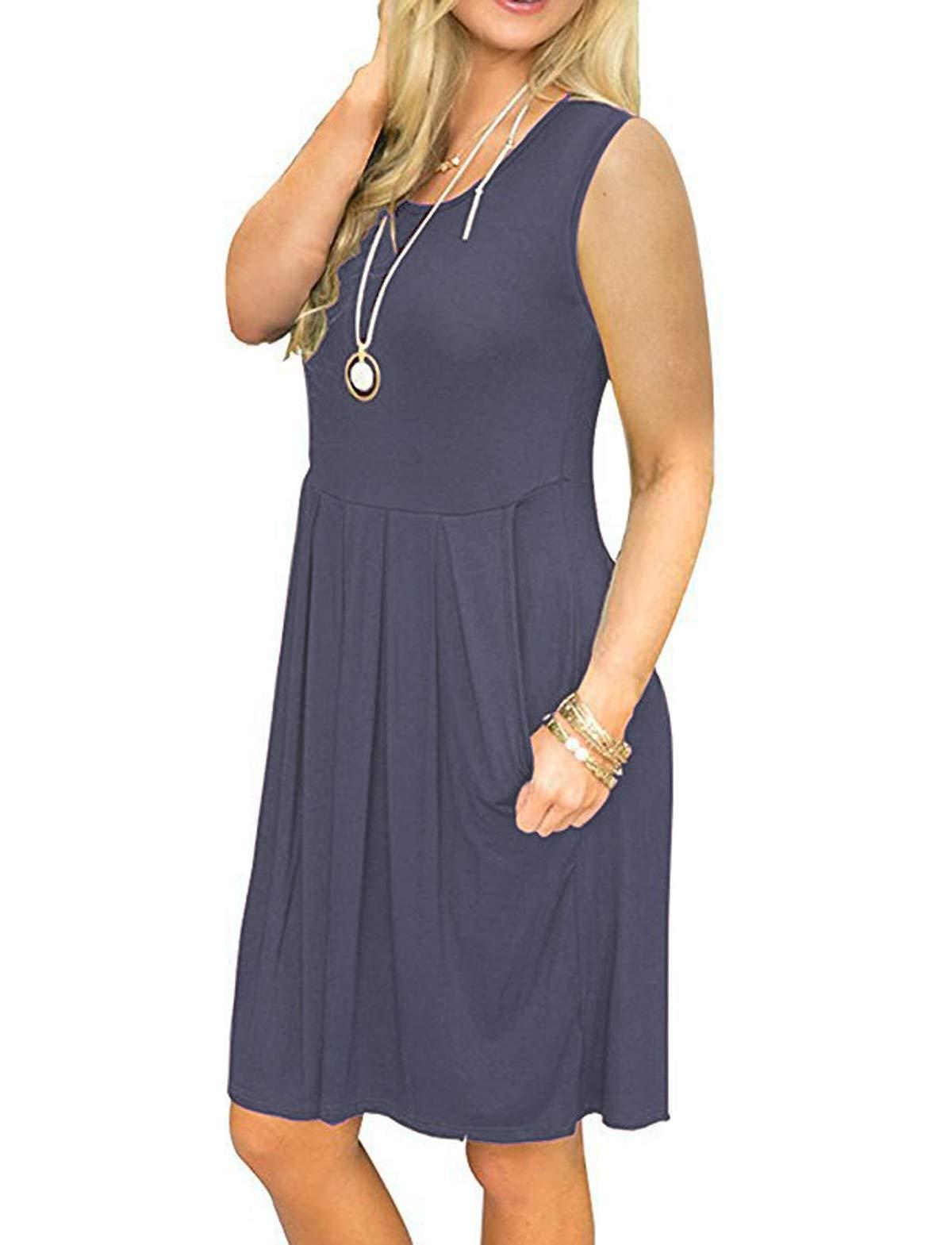 HUALAIMEI Women\'s Summer Sleeveless Knee Length Tanks Casual Midi Dresses