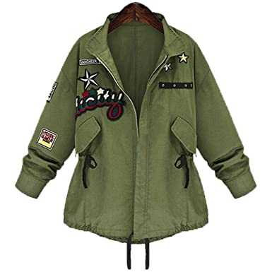 Amazon.com: Autumn Winter Women Military Jacket Basic Coat ...