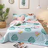 Cotton Summer Comforter Floral Birds Leaves Flower Printed Quilt for Kids Girls Teens Adults Reversible Summer Blanket Lightweight Soft Children Bed Coverlet All Seasons Quilt, 150x200cm