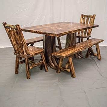 Pleasing Amazon Com Midwest Log Furniture Northern Torched Cedar Gmtry Best Dining Table And Chair Ideas Images Gmtryco