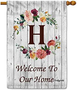 KafePross Hello Spring Flowers Summer Initial Letter Monogram H House Flag Welcome to Our Home Warminghouse Decor Banner for Outside 28x40 Inch Double Sided