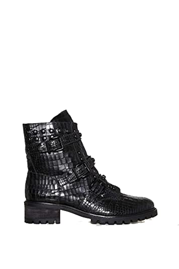80699d7d8de1 SCHUTZ Suleni Black Croco Leather Lace up Fashion Combat Military Ankle Boot  (5)
