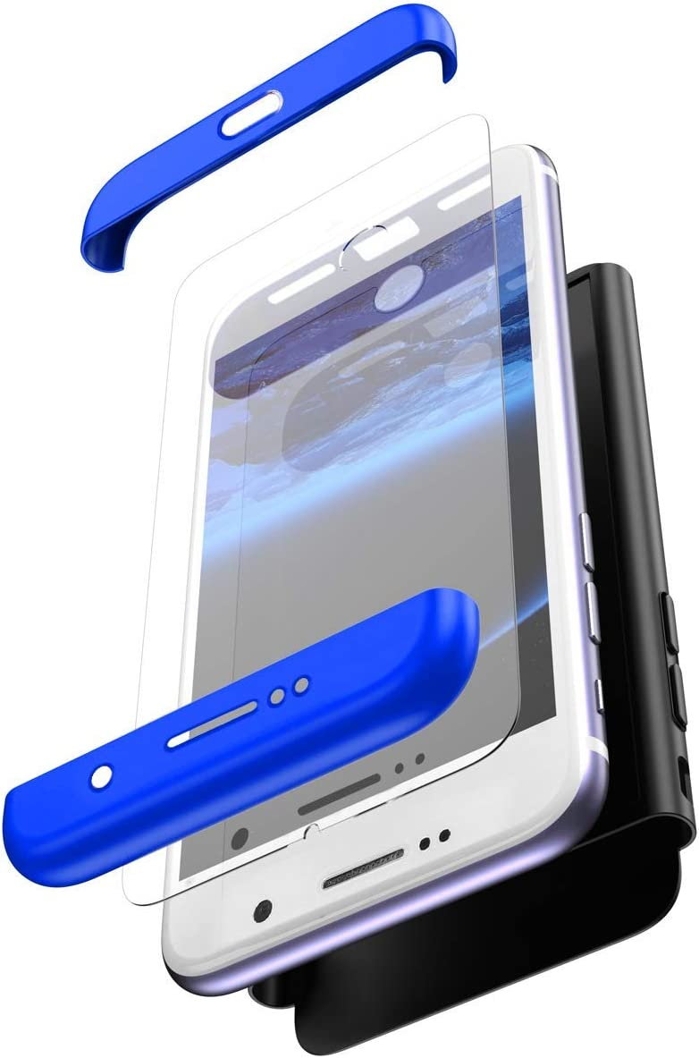 Tempered Glass Screen Protector Ultra Thin Shockproof Front Back Hard Anti-Scratch Case,Gold Black Herbests Compatible with Samsung Galaxy S9 Case 360 Full Body Coverage Protection Case