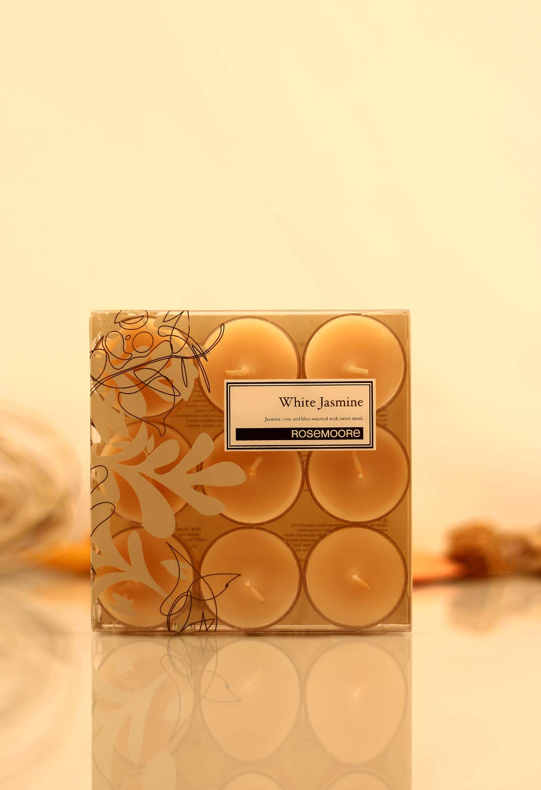 Rosemoore White Jasmine Scented Tea Lights For Living Room, Washroom, Bedroom, Office by Rose and Moore (Image #1)