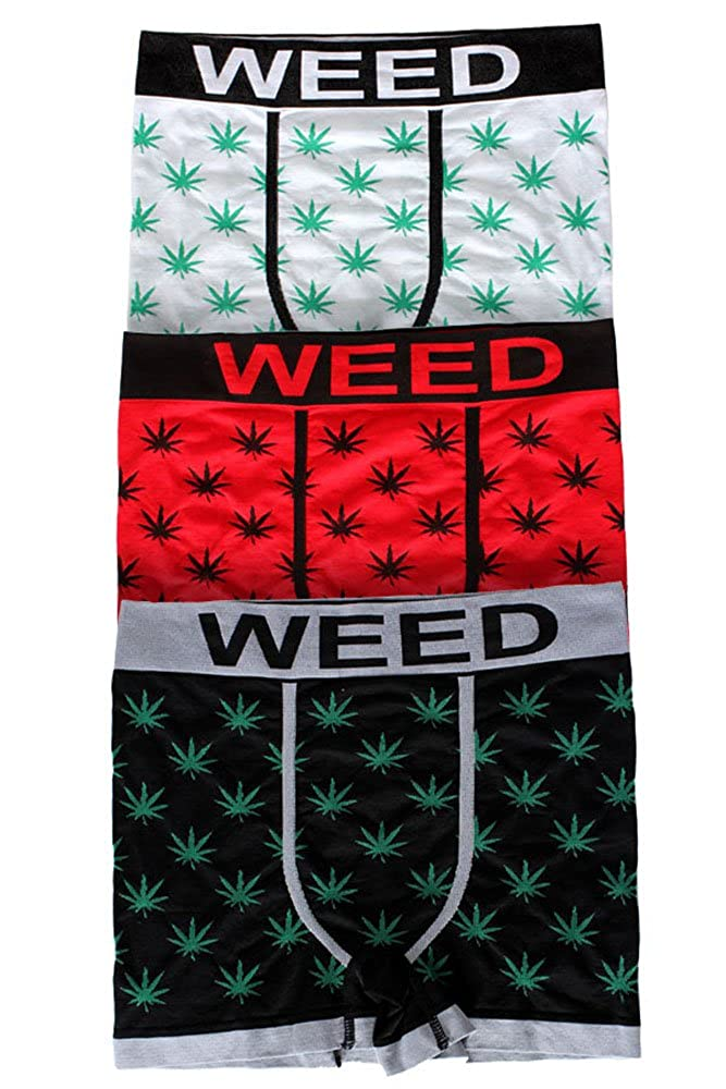 boxer marijuana con foglia di cannabis Weed Kush confezione da 3