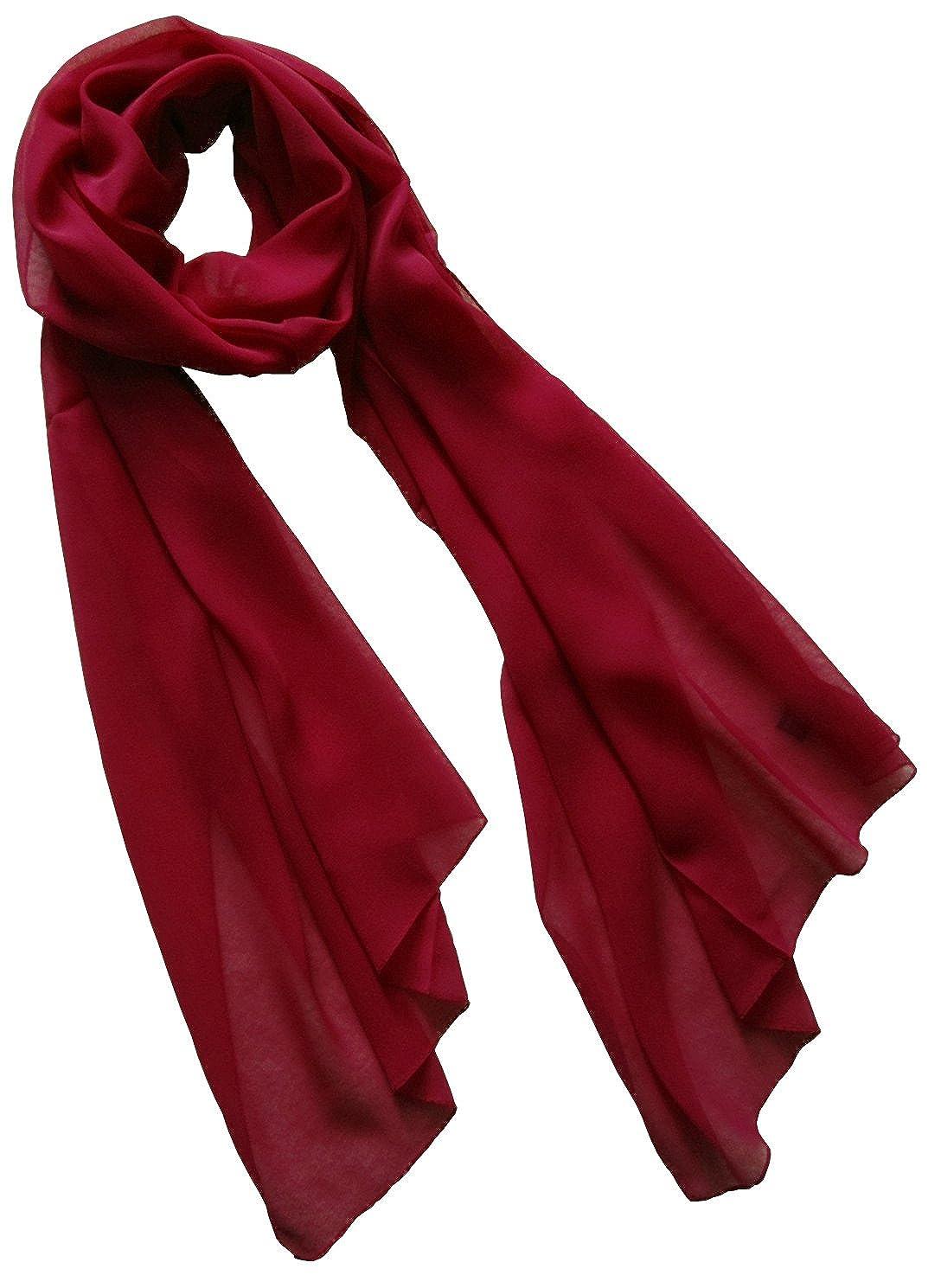 Nella-Mode Uni-Farbener Seidenschal, ca. 180x50 cm; Schal aus reiner Seide; Weiss, Schwarz, Lila, Rot, Blau, Grün, Gelb, Terracotta, helles Türkisblau, Flieder oder Bordeauxrot