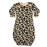 The Laughing Giraffe Unisex Long Sleeve Baby Gown (3-6M, Tan Leopard)