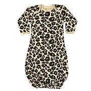 Laughing Giraffe Unisex Long Sleeve Baby Gown (3-6M, Tan Leopard)