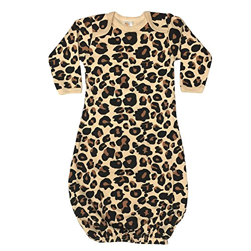 (Laughing Giraffe Unisex Long Sleeve Cotton Baby Gown (Tan Leopard),0 - 3 Months)