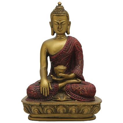 amazon com sakyamuni buddha statue red and gold finish 5 inches