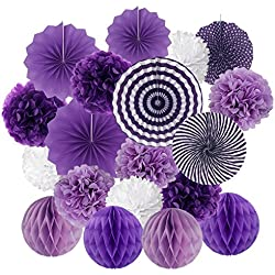 Hanging Paper Fan Set, Cocodeko Tissue Paper Pom Poms Flower Fan and Honeycomb Balls for Birthday Baby Shower Wedding Festival Decorations - Purple