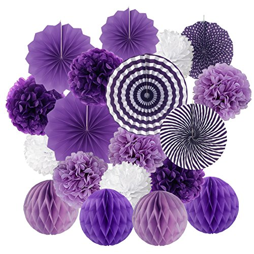 Hanging Paper Fan Set, Cocodeko Tissue Paper Pom Poms Flower Fan and Honeycomb Balls for Birthday Baby Shower Wedding Festival Decorations - -