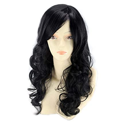 Peluca de mujer, moda europea y americana, flequillo oblicuo, pelo largo y rizado