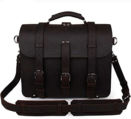 Mens Shoulder Bags Leather Retro Crazy Horse Leather Tote Bag Domineering Bags for Travel Color : Dark Brown