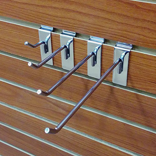 40 Chrome Assorted Slatwall Metal Hooks, Multi Size Hook Bundle - 2'', 4'', 6'' & 8'' - 10 Each by Store Fixtures Direct