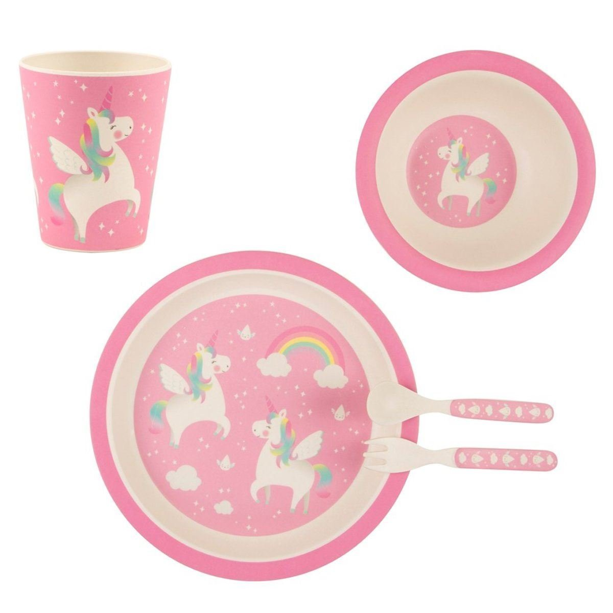 Rainbow Unicorn Bamboo Tableware Set Maia Gifts