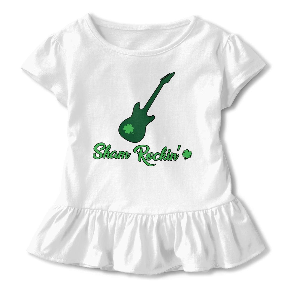 Clover Guitar Toddler Ruffle T-Shirt Crew Neck Tees for 2-6T