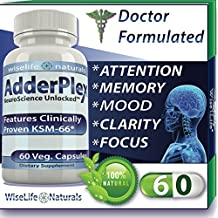 Adderplex to Improve Focus, Added Attention, Mood, Increase Memory, Concentration, Mental Energy, DR Formulated Safe Anti-Stress Natural Alternative With Ginkgo and Phosphatidylserine