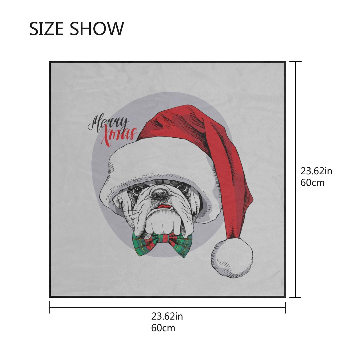 Soft Polyester Silk Scarf Scrunchie Fashion Print Christmas Bulldog Portrait Head Scarf Men Head Scarfs Women Scarves Ladies Multiple Ways Of Wearing Daily Decor