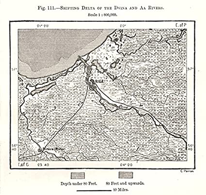 Amazoncom Shifting Delta Of The Dvina Aa Rivers Riga Latvia - Old riga map