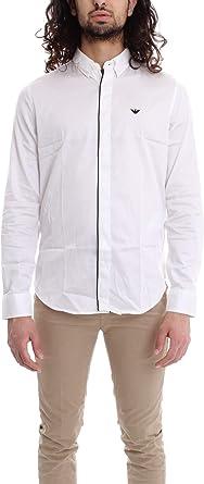 Armani - Camisa ajustada para hombre, color blanco: Amazon.es: Ropa y accesorios