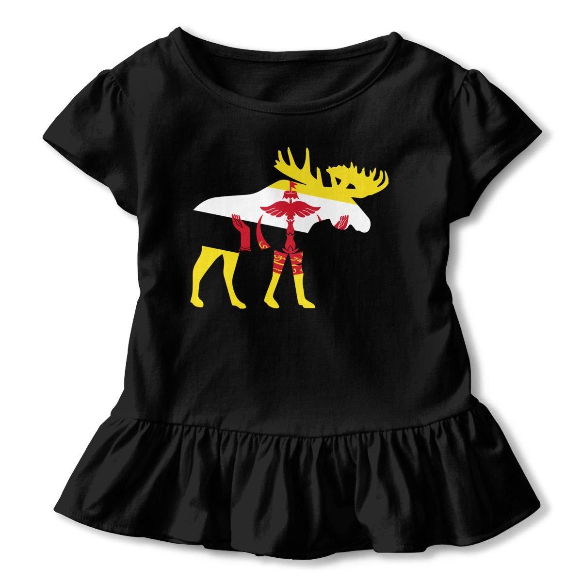 2-6T Ruffled Tunic Shirt Dress with Falbala Zi7J9q-0 Short Sleeve Brunei Moose Shirts for Girls